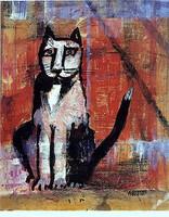 WS Katze vor roter Mauer